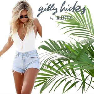 Gilly hicks whitewashed ripped frayed jean shorts